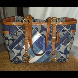 COACH Signature Denim Patchwork Tote Bag